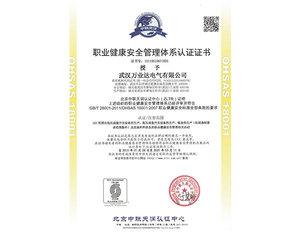 职业健康安全管理体系认证证